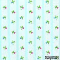 "Салфетка для декупажа ""Цветы, ситец"", цвет фона: голубой, размер: 33х33 см"
