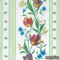 "Салфетка для декупажа ""Тюльпаны плетение"", цвет фона: зеленый, размер: 33х33 см"