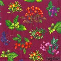 """Салфетка для декупажа """"Лесные ягоды: веточки"""", цвет фона: бордовый, размер: 33х33 см"""