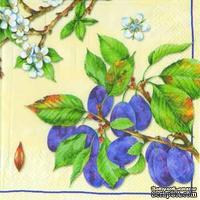 """Салфетка для декупажа """"Ветки спелой сливы и цветущие ветви"""", цвет фона: кремовый, размер: 33х33 см"""