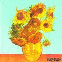 "Салфетка для декупажа ""Ван Гог. Подсолнечники"", цвет фона: аквамарин,  размер: 33х33 см"