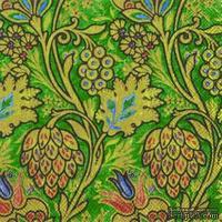 """Салфетка для декупажа """"Райские цвет: узоры"""" зеленый, цвет фона: аквамарин,  размер: 33х33 см"""