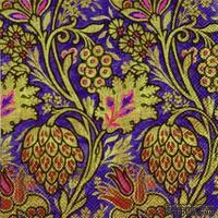 """Салфетка для декупажа """"Райские цвет: узоры"""", цвет фона: фиолетовый, размер: 33х33 см"""