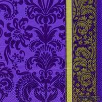 """Салфетка для декупажа """"Королевский узор"""", цвет фона: фиолетовый, размер: 33х33 см"""