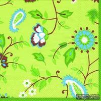 """Салфетка для декупажа """"Цветочные узоры"""", цвет фона: зеленый яркий, размер: 33х33 см"""