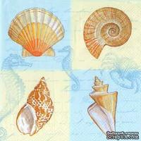 """Салфетка для декупажа """"Морские раковины"""", цвет фона: белый/голубой, размер: 33х33 см"""