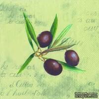 """Салфетка для декупажа """"Веточка оливы"""", цвет фона: оливковый, размер: 33х33 см"""