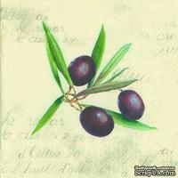 """Салфетка для декупажа """"Веточка оливы"""", цвет фона: кремовый, размер: 33х33 см"""