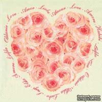 """Салфетка для декупажа """"Сердце из роз"""", цвет фона: кремовый, размер: 33х33 см"""
