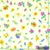 """Салфетка для декупажа """"Полевые цветы"""", цвет фона: кремовый, размер: 33х33 см"""