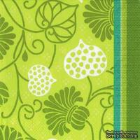 """Салфетка для декупажа  """"Узоры из листвы"""", цвет фона: зеленый, размер: 33х33 см"""
