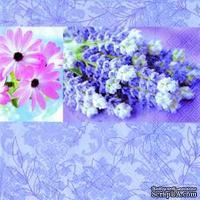 """Салфетка для декупажа """"Лавандовая любовь"""", цвет фона: синий, размер: 33х33 см"""