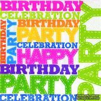 "Салфетка для декупажа ""Birthday Party"", 6 цветов, размер: 33х33 см"