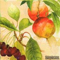 """Салфетка для декупажа """"Персики и вишни на ветвях"""", цвет фона: абрикосовый, размер: 33х33 см"""