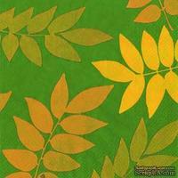 "Салфетка для декупажа ""Осенняя листва (силуэты)"", цвет фона: зеленый, размер: 33х33 см"