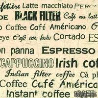 """Салфетка для декупажа """"Надписи про кофе"""", цвет фона: бежевый, размер: 33х33 см"""