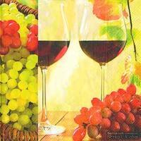 "Салфетка для декупажа ""Вино ля двоих: бокалы, виноград"", размер: 33х33 см"