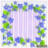 """Салфетка для декупажа """"Фиалки, рамочка"""", цвет фона: фиолетовый, размер: 33х33 см"""