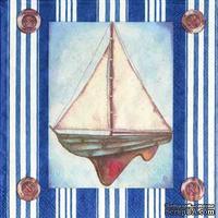 "Салфетка для декупажа ""Парусник"", цвет фона: синий/белый, размер: 33х33 см"