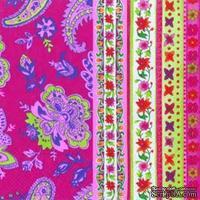 "Салфетка для декупажа ""Цветы и узоры"", цвет фона: розовый, размер: 33х33 см"