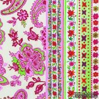 """Салфетка для декупажа """"Цветы и узоры"""", цвет фона: бело-розовый, размер: 33х33 см"""