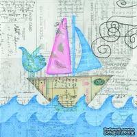 """Салфетка для декупажа """"Цветы и узоры"""", цвет фона: аквамарин/серый, размер: 33х33 см"""