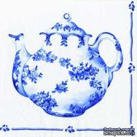 """Салфетка для декупажа """"Чай для двоих"""", цвет фона: бело-голубой, размер: 33х33 см"""