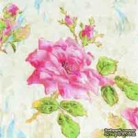 "Салфетка для декупажа ""Роза"", цвет фона: кремовый, размер: 33х33 см"