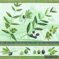 """Салфетка для декупажа """"Оливки"""", цвет фона: зеленый, размер: 33х33 см"""
