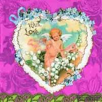 """Салфетка для декупажа """"Сердце с ангелом"""", цвет фона: розовый, размер: 33х33 см"""