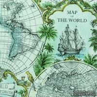 """Салфетка для декупажа """"Карта мира"""", цвет фона: голубой, размер: 33х33 см"""