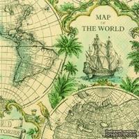 "Салфетка для декупажа ""Карта мира"", цвет фона: охра, размер: 33х33 см"