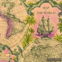 """Салфетка для декупажа """"Карта мира"""", цвет фона: терракотовый, размер: 33х33 см"""