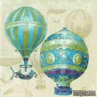"""Салфетка для декупажа """"Воздушные шары"""", цвет фона: кремовый, размер: 33х33 см"""