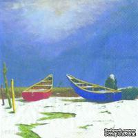 "Салфетка для декупажа ""Лодки на песке"", размер: 33х33 см"