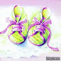 "Салфетка для декупажа ""Baby - туфельки"", цвет: розовый, размер: 33х33 см"