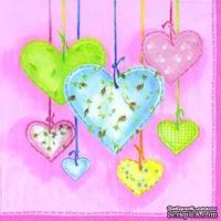 """Салфетка для декупажа """"Тканевые сердечки"""", цвет фона: розовый светлый, размер: 33х33 см"""