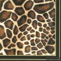 """Салфетка для декупажа """"Животный принт (жираф)"""", цвет фона: черный, размер: 33х33 см"""