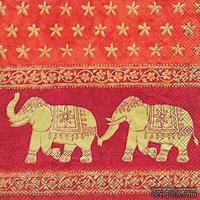 """Салфетка для декупажа """"Марани, Индия"""", цвет фона: красный, размер: 33х33 см"""