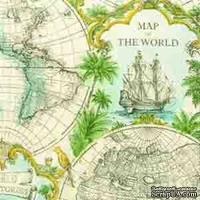 """Салфетка для декупажа """"Карта мира"""", цвет фона: кремовый, размер: 33х33 см"""