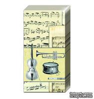 """Салфетка для декупажа """"Музыкальные инструменты и ноты"""", цвет фона: кремовый, размер: 33х33 см"""
