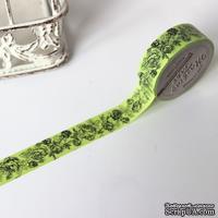 """Бумажный скотч с принтом """"Зеленые розочки"""", ширина 15 мм, длина 8 м"""