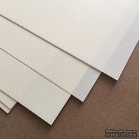 Лист дизайнерской бумаги, фактура лен, цвет слоновая кость, размер А4, 80 г/м