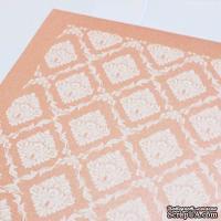 Лист дизайнерского картона с рисунком Роскошно 3, цвет Роза, А4, 250 г/м2
