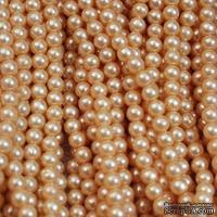"""Бусины """"жемчуг"""" на нити, 135 бусин, цвет персиковый, диаметр 6 мм"""