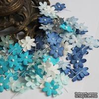 Плоские цветочки, микс цветов: голубой, 1,5 см