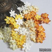 Плоские цветочки, микс цветов: желтый, 1,5 см