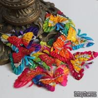 Бабочки, двухслойные, с глиттером, микс цветов: радужный, 6x см, 10 шт.