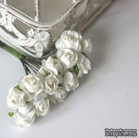 Открытая роза White, белая, 15 мм, 12 шт.