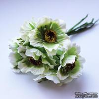 Цветок мака, бело-зеленый, 1 шт.
